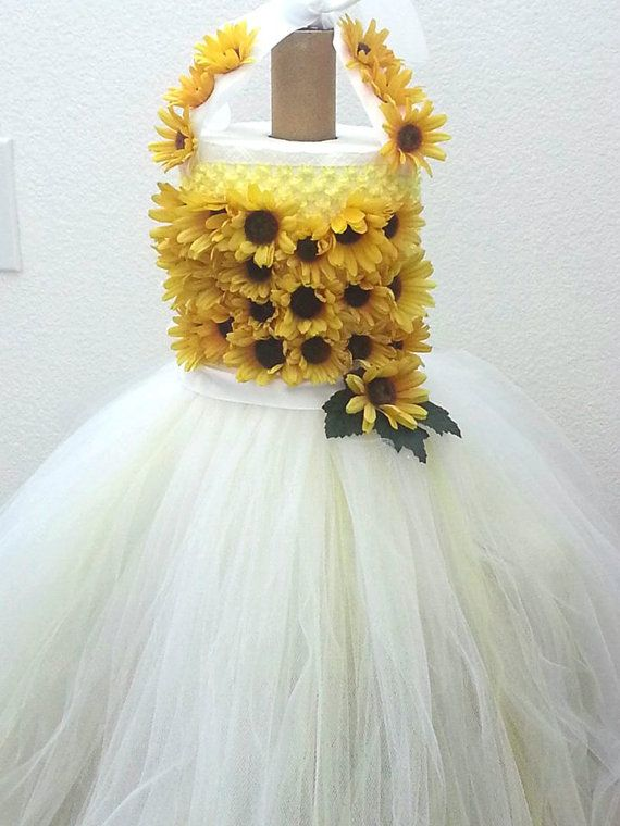 e3a78f561aa Girls Bursting Sunflower Yellow and White Flower Girl Photo shoot Tutu Dress