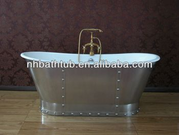 Cast Iron Freestanding Bathtub With Stainless Steel Skirt With