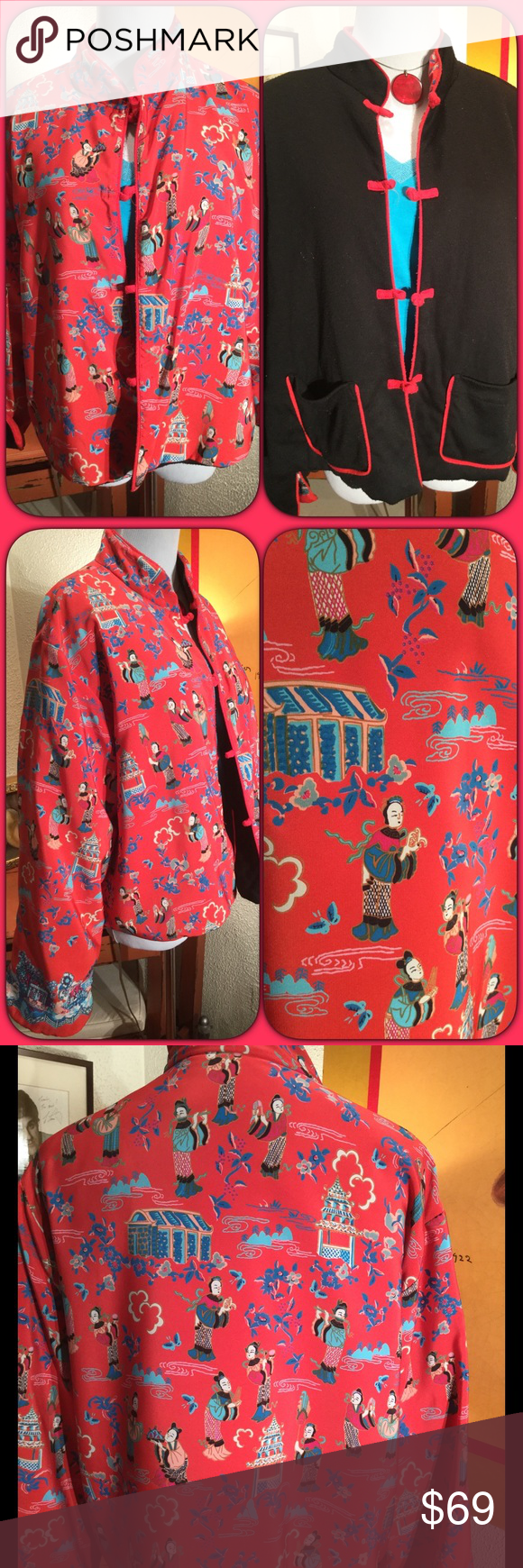 "Whimsical Reversible Asian Fleece Jacket So fun!! This jacket will totally rock your look and keep you warm. I bought it for the wonderful pattern💕 the black side is a fleece and does have some piling and two pockets! Frog enclosures, mandarin collar. 21"" pit to pit 22"" long. Would fit small - medium absolutely delightful! Very good vintage condition (not excellent cause of the piling) Vintage Jackets & Coats"