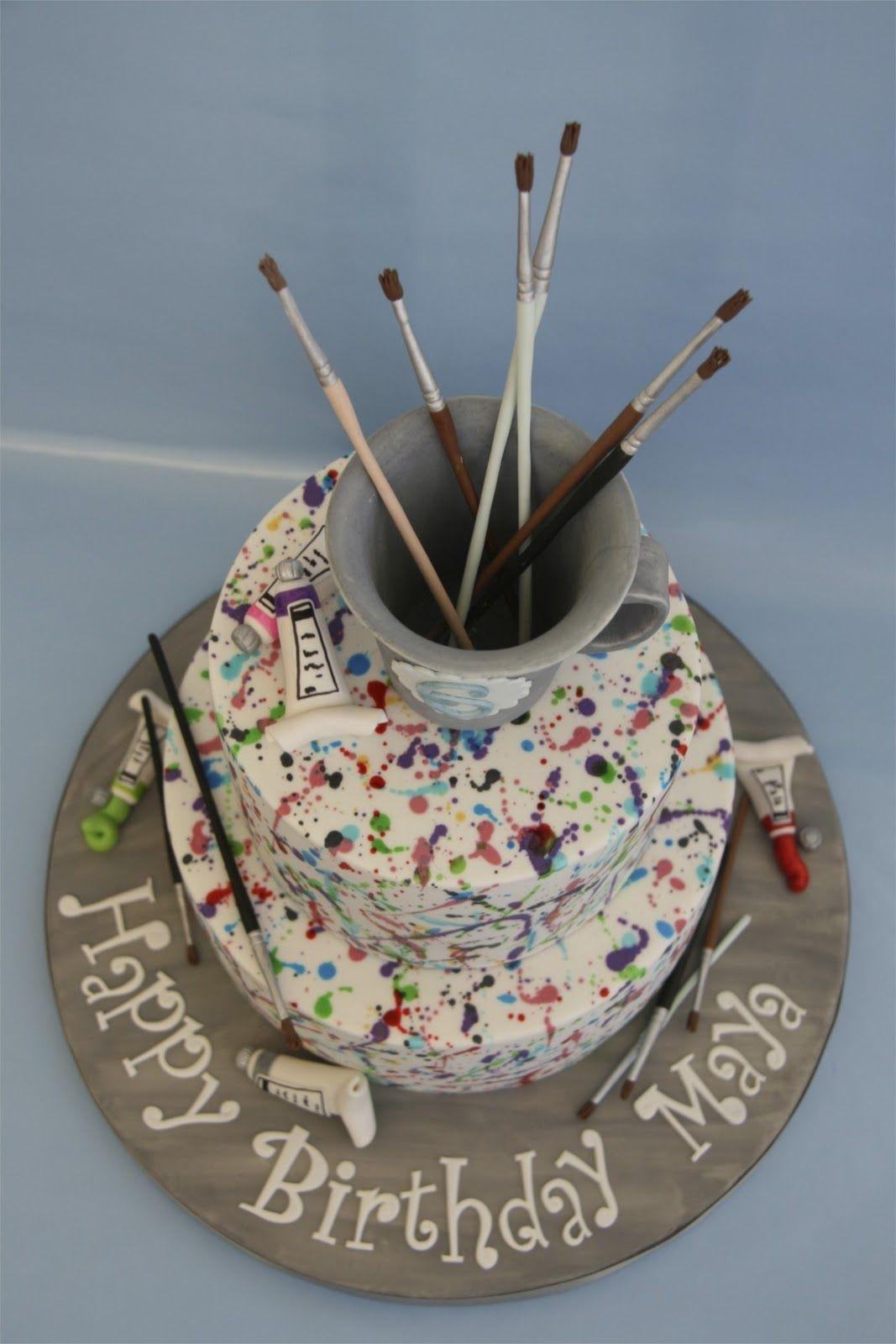 painters cake Sweet cake design paint splatter cake Rileys