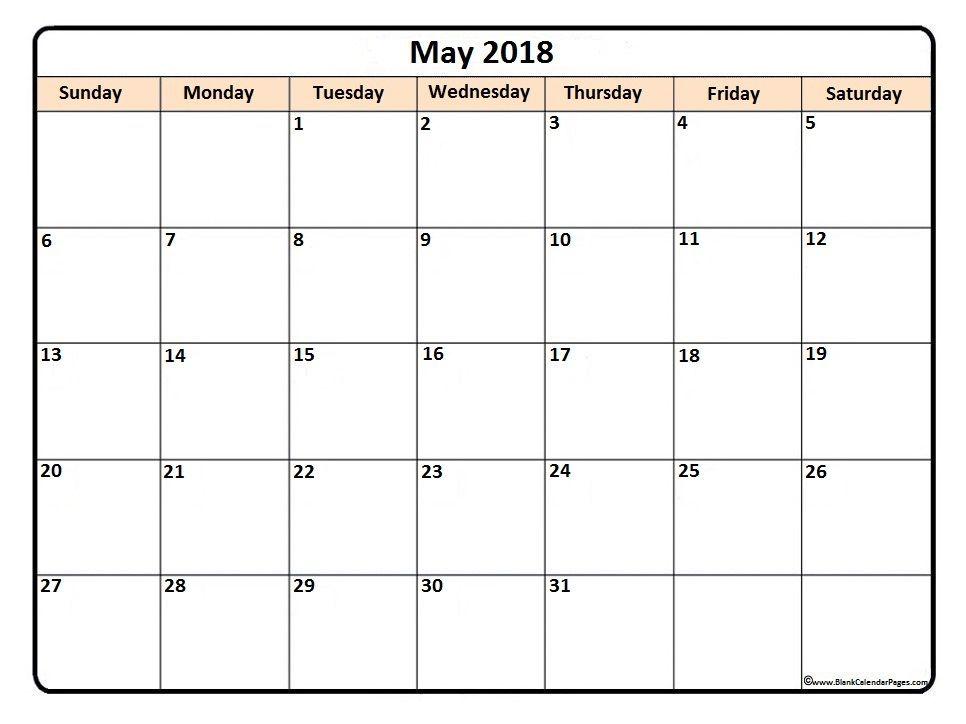 May 2018 Printable Calendar May2018 Calendario Calendar
