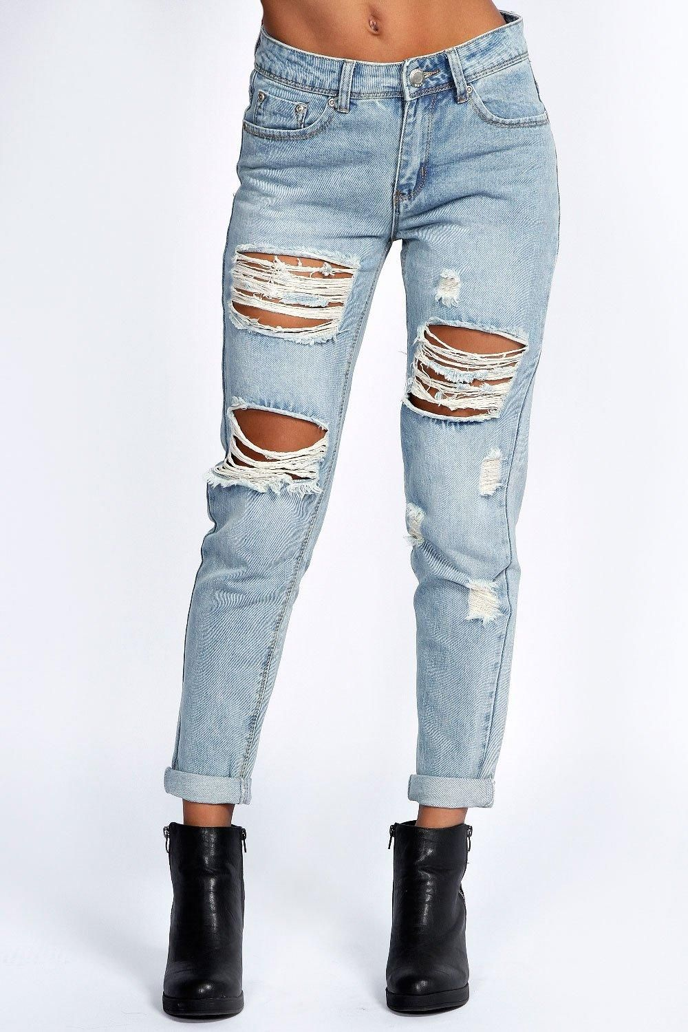 Mid Rise All Over Ripped Boyfriend Jeans Boohoo Uk In 2021 Womens Ripped Jeans Diy Ripped Jeans Boyfriend Jeans