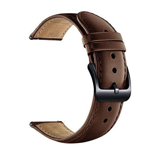 bfb829906 LEUNGLIK 20mm Watch Band Quick Release Leather Watch Bands with Black  Stainless Pins Clasp -Brown