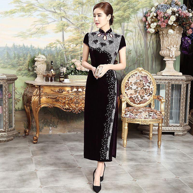 eb02b6bca Modern Qipao Dress 2017 Luxury Long Cheongsams Pearl Velvet Women China  Style Cheongsam Traditional Chinese Wedding Dress Qi Pao #Affiliate