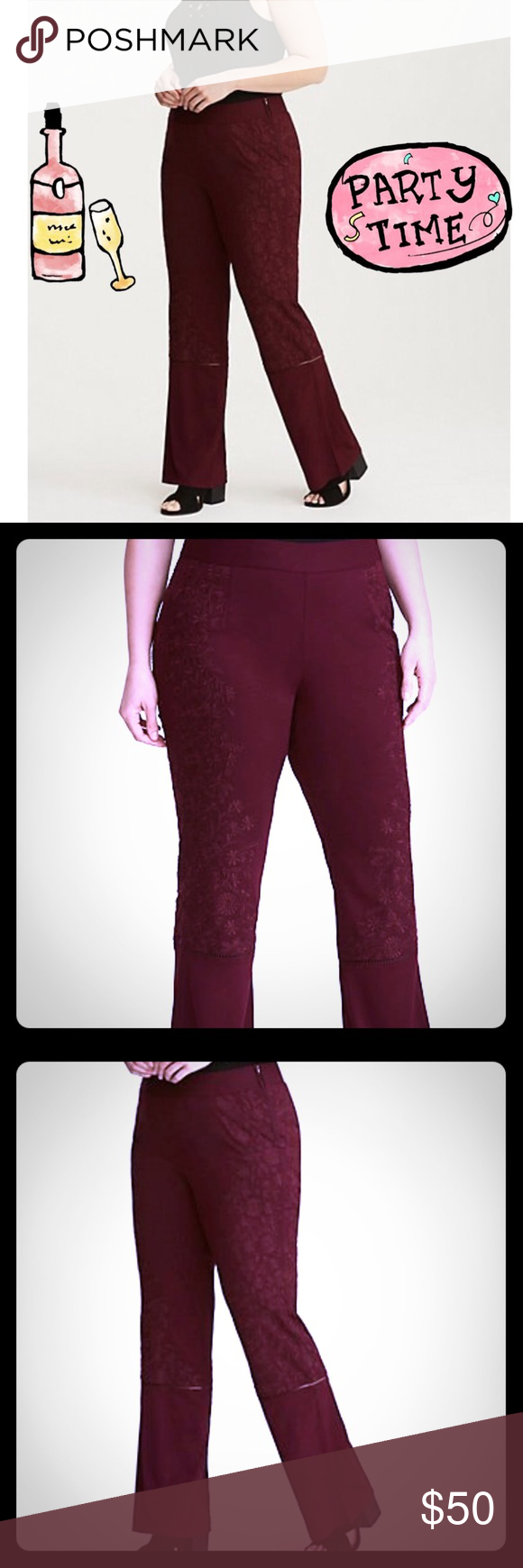 1313a98cd11 Torrid Insider Collection Embroidered Flare Pants Shake
