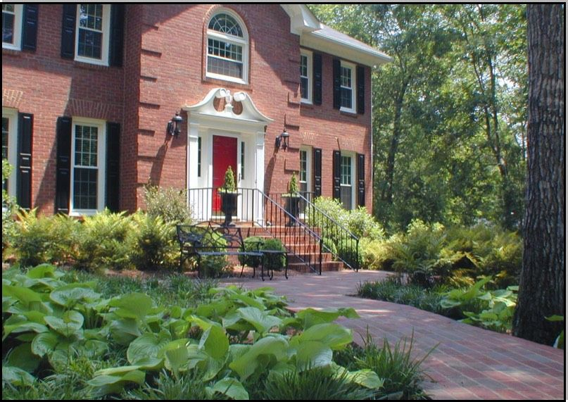 Home Garden Design Georgian Style Architecture With Landscaping Home Garden Design Front Yards Curb Appeal Front Yard Patio