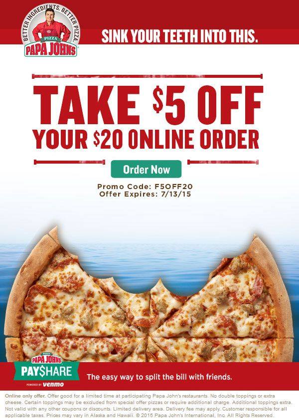 Papa Johns coupons and promo codes. Trust spiritmovies.ml for Pizza savings.