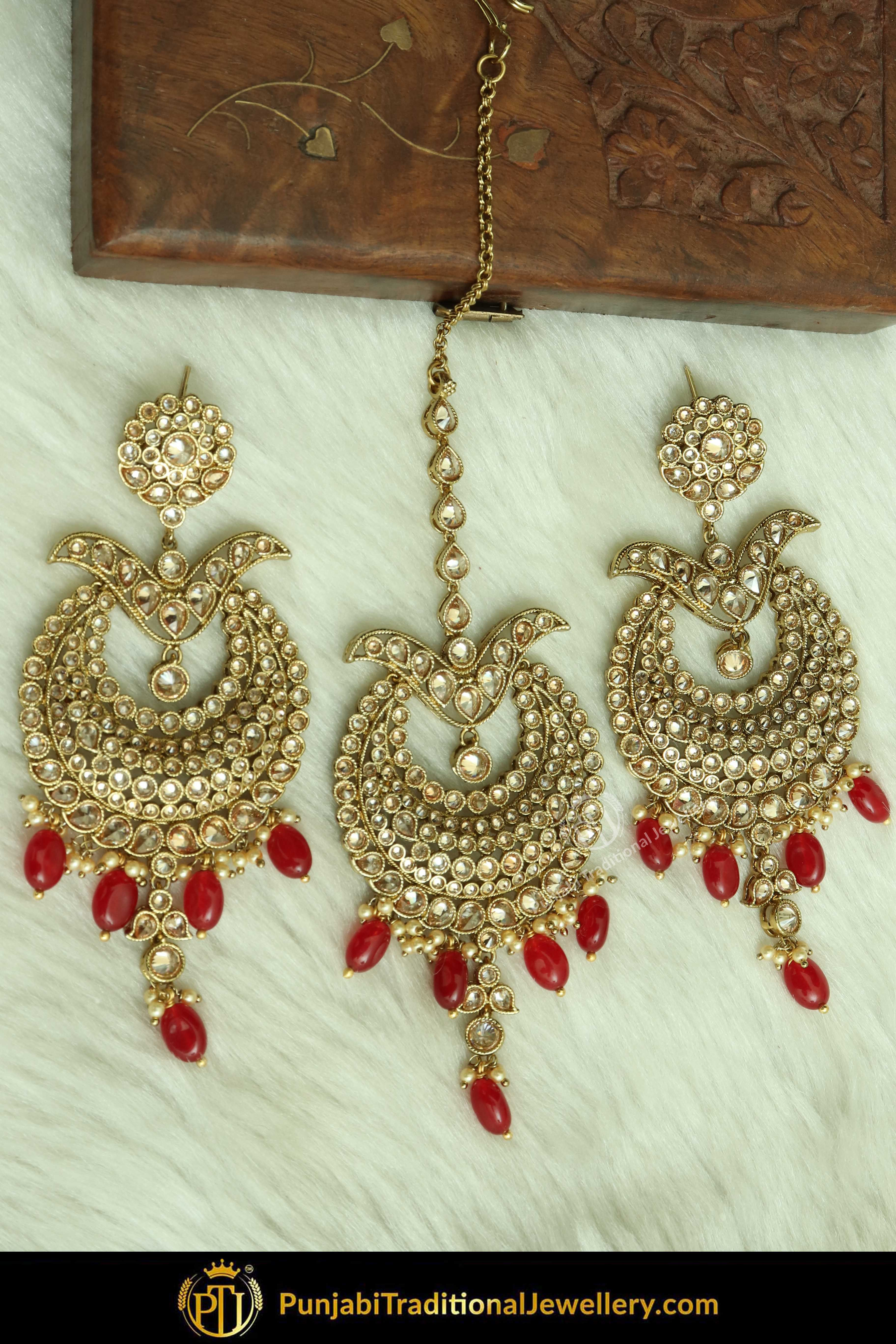 c682e4823 Pinterest: @PunjabiJewellery Antique Gold Finised Champagne Stone Red  Earring Tikka Set You may visit