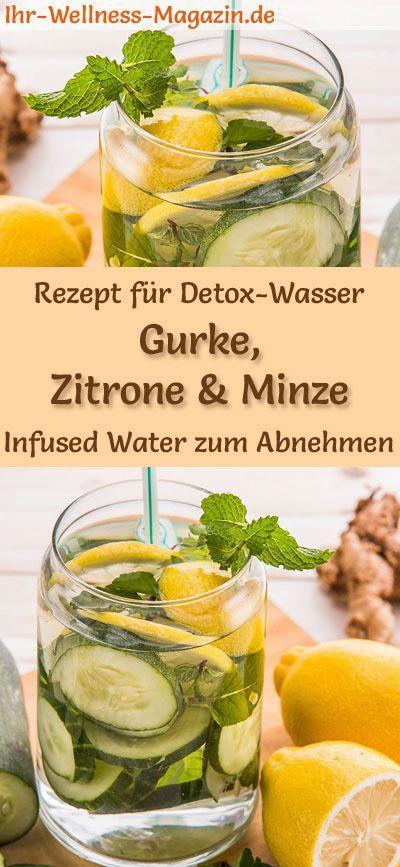 Gurken-Zitronen-Minze-Wasser - Rezept für Infused Water - Detox-Wasser