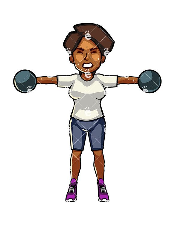 A Black Woman Exercising With Dumbbells Cartoon Vector Clipart Friendlystock Body Positive Fitness Body Image Art African