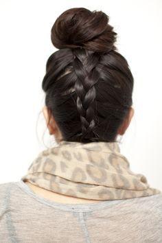 inverted bun braid hair