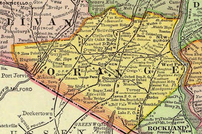 Orange County New York 1897 Map Rand Mcnally Newburgh