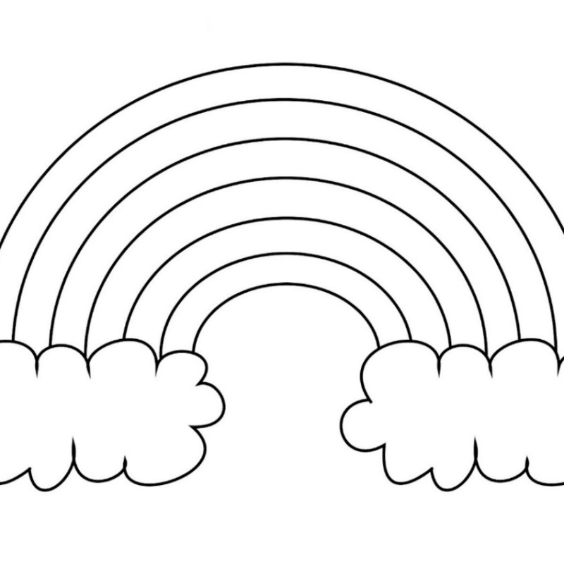 Extra Large Rainbow Template With Clouds Blank Ready To Color Rainbow Pattern Printable Templates Printable Kids Templates Printable Free