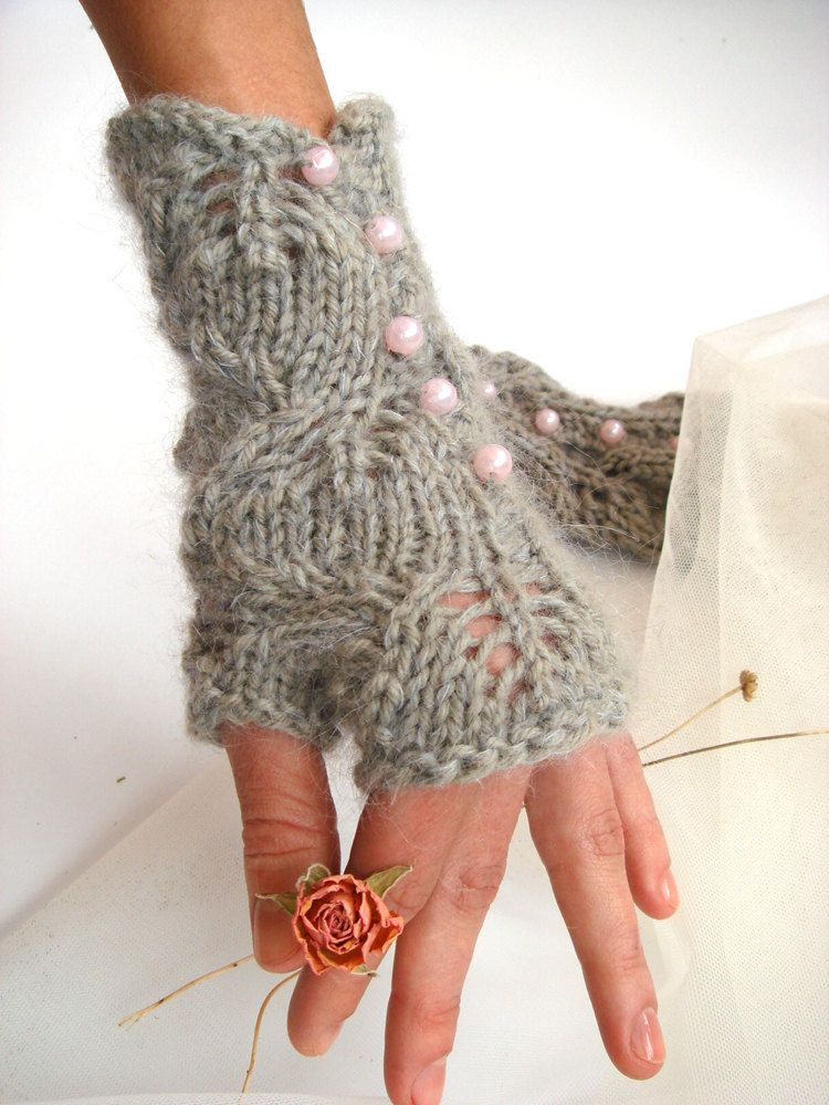 Pearled Knitted Lace Fingerless Gloves Gorgeous Love How