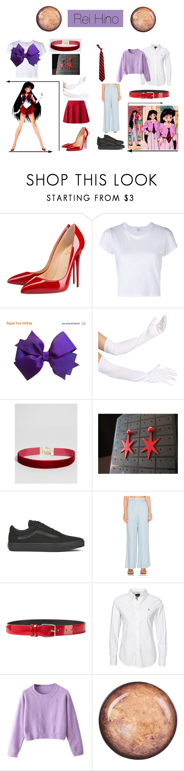 """Sailor Mars: Rei Hino"" by mya0nah21 on Polyvore featuring Christian Louboutin, RE/DONE, Vans, BB Dakota, Jil Sander, Polo Ralph Lauren and Seletti"