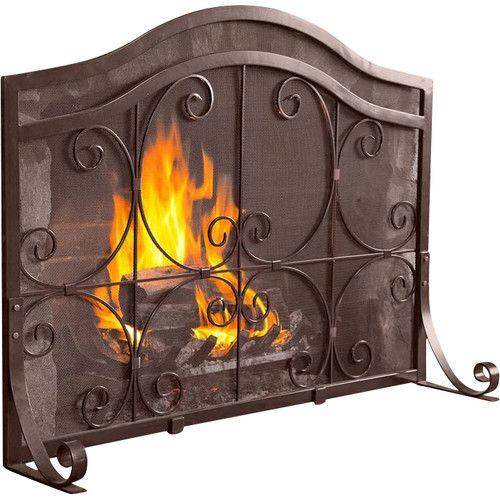 Plow Hearth Single Panel Iron Fireplace Screen Fireplace