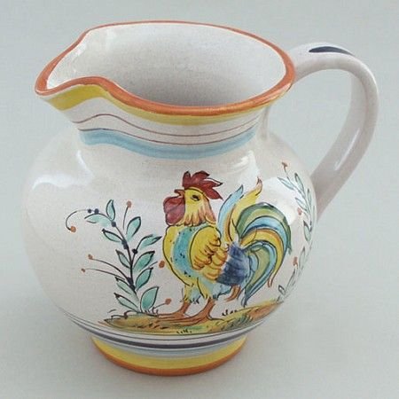 Put this charming little pitcher to work by using it to serve cream with coffee or hold a small arrangement of flowers. #Rooster Creamer : Emilia Ceramics #pitchervase #homedecor $58