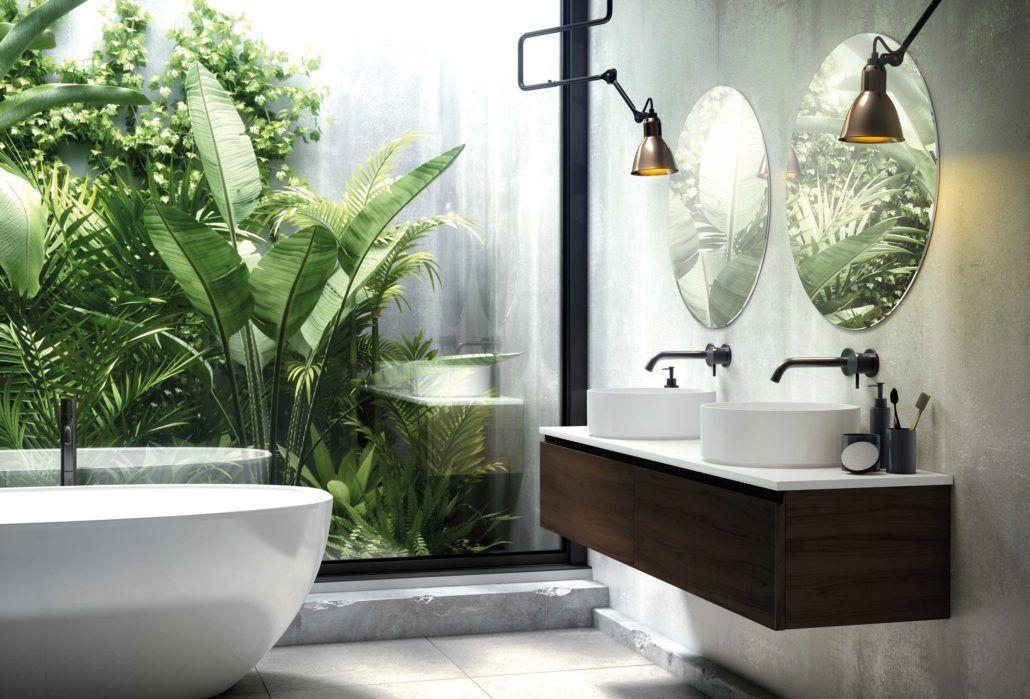 Bano Con Terraza Y Jardin Adornado Con Plantas Tropicales Quien