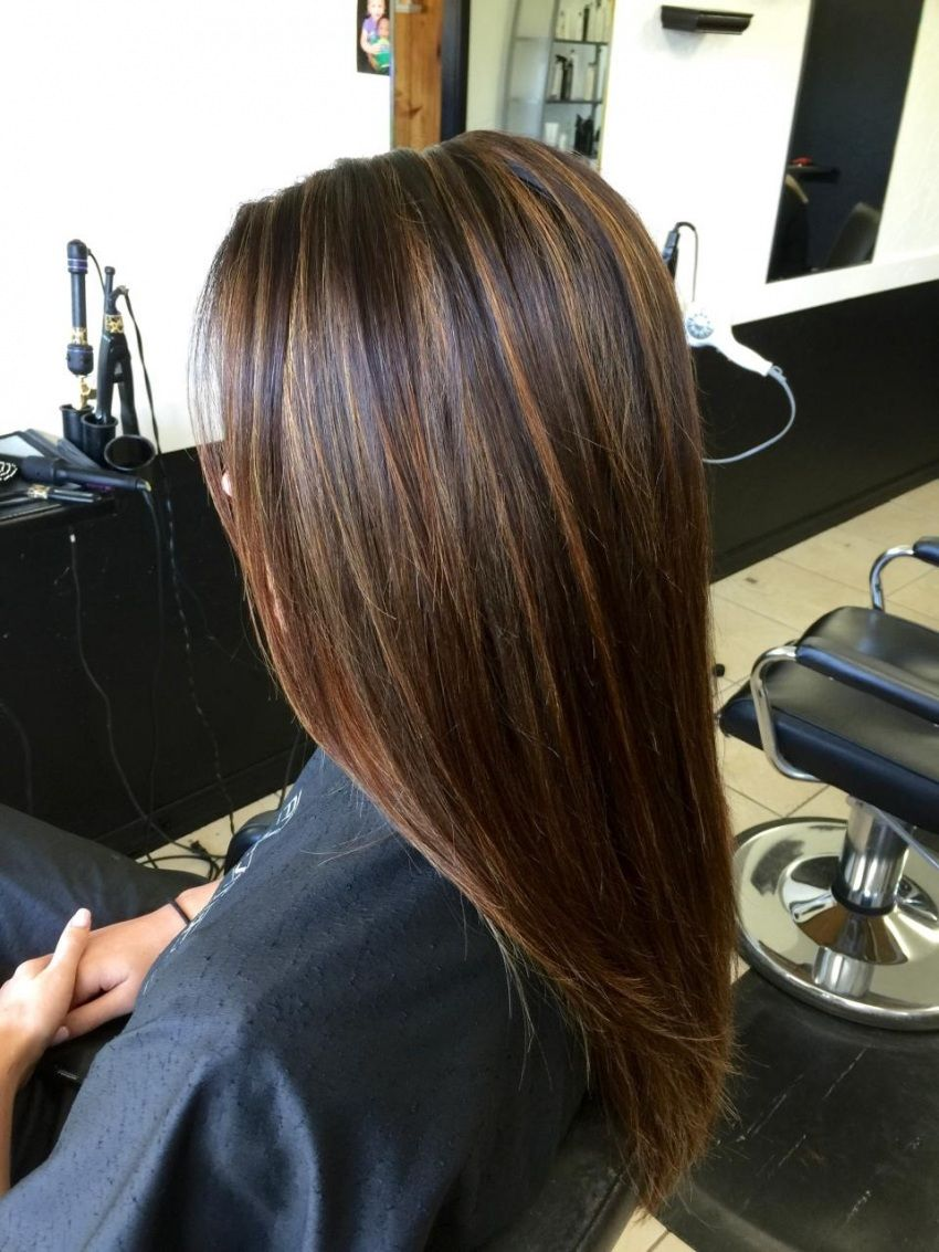 dark brown hair with caramel highlights before and after