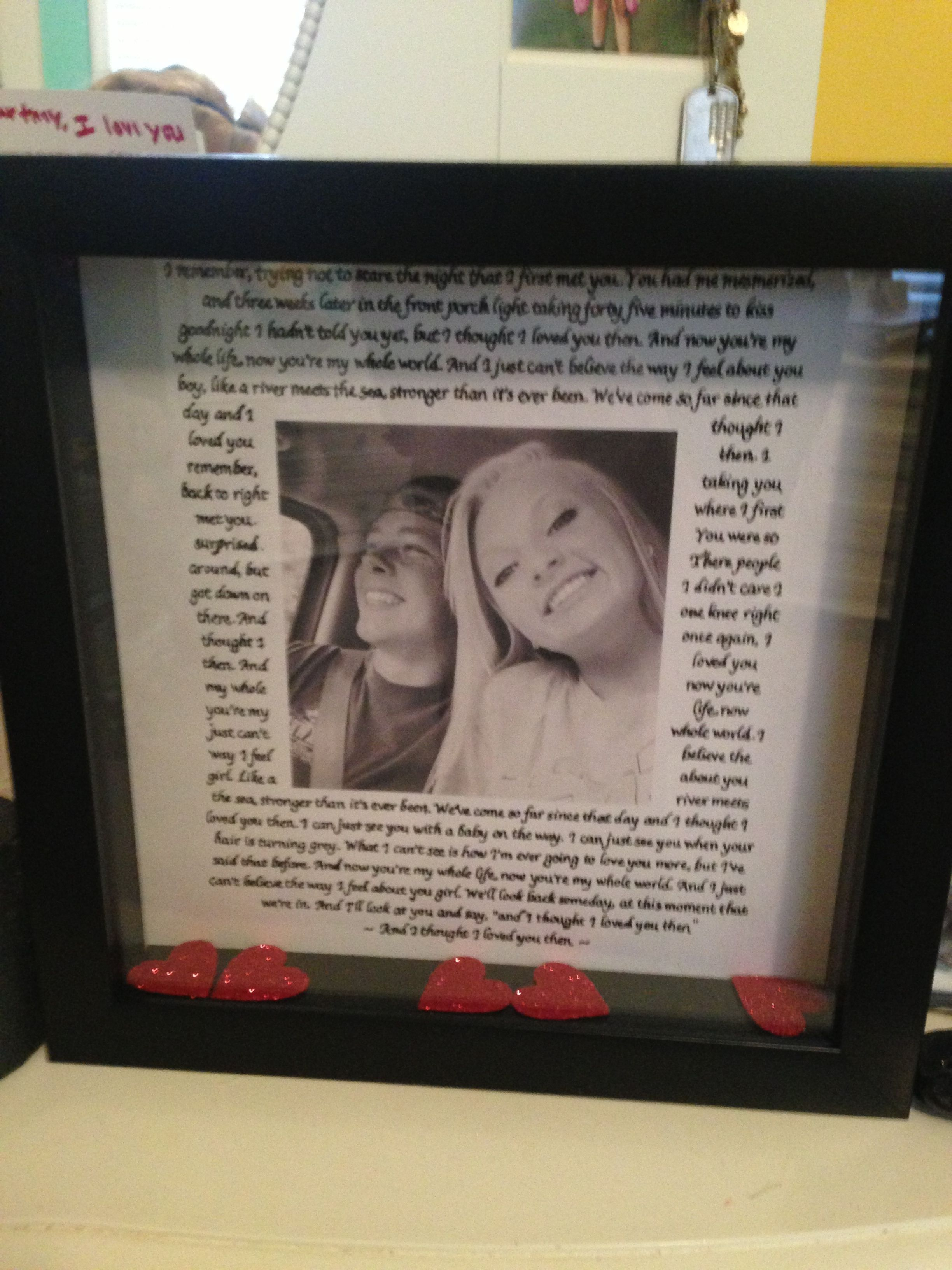Shadow Box With The Lyrics To Our Song For The Boyfriend
