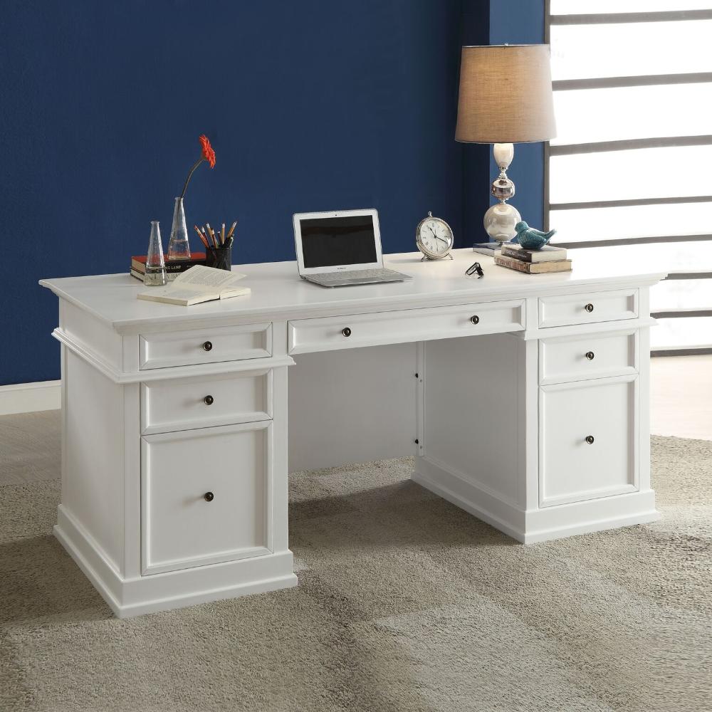 Daiki Desk White Wooden Desk With Drawers File Cabinet Casa Bella Furniture Quality Furniture Hom White Wooden Desk Desk With Drawers White Desk Office White desk with file cabinets