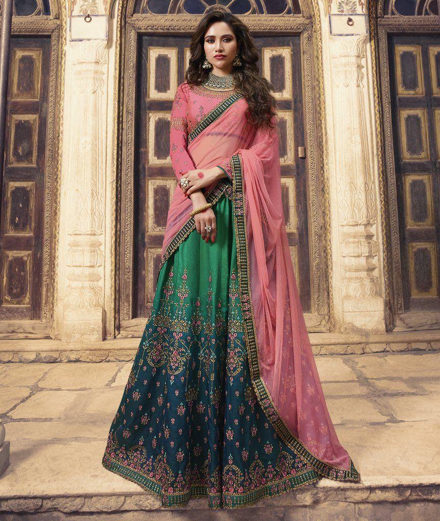 e2e42a73abb Green Blue Pink Embroidered Silk Designer Lehenga Choli (Semi-Stitched) # lehengacholi #lehenga #lehengas #choli #blouse #Bridal #designer #zari  #emroidered ...