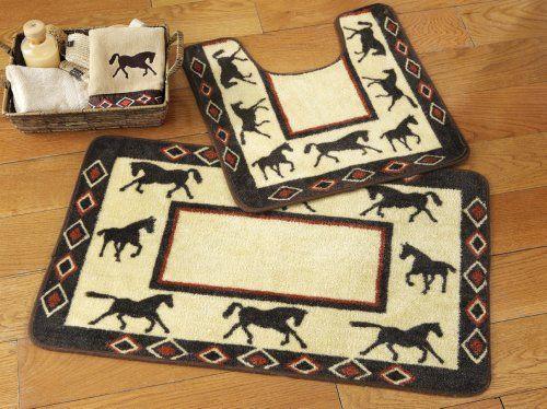 Collections Etc Western Horses Bathroom Rug Set Http Www Dp B00dvzhx06 Ref Cm Sw R Pi K2qmsb19knr1d58b