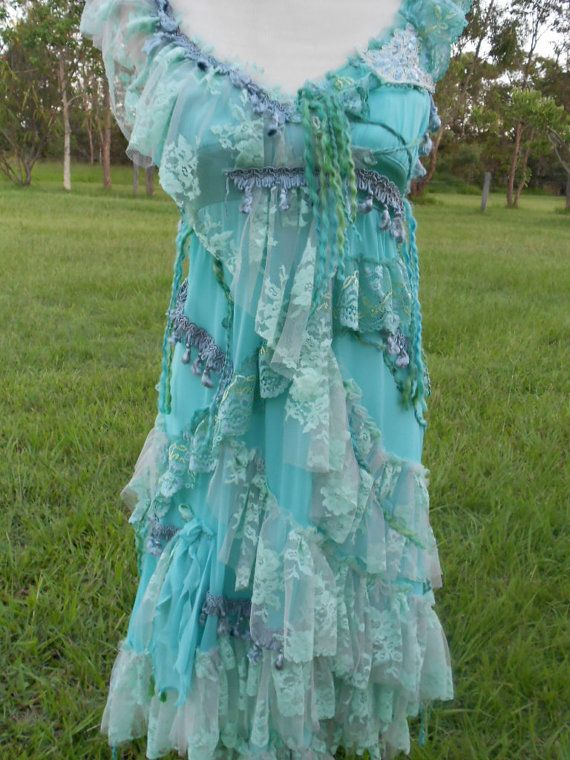 a gorgeous sea coloured shabby bohemian gypsy dress by wildskin, $105.00