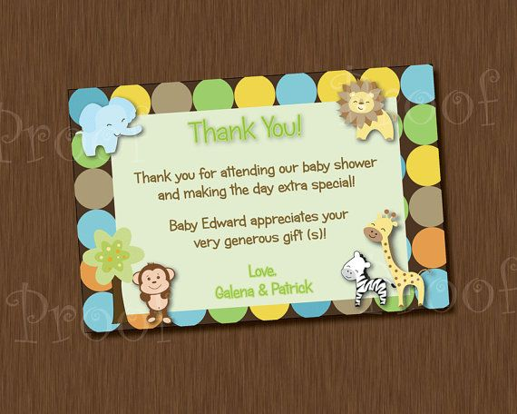 Printable Thank You Card Baby Shower King Of Jungle Monkey Zebra