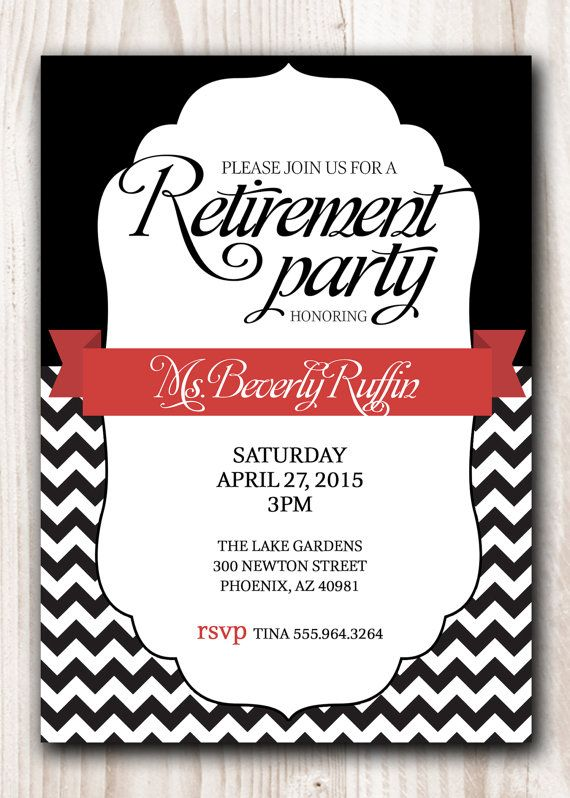 Retirement Party Invitation Black With A Touch Of Red Or Pick Any
