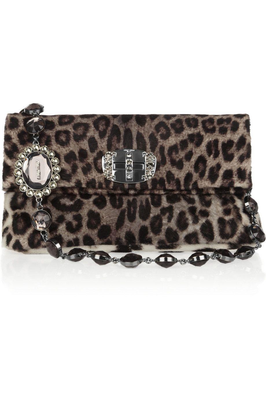 #MIU MIU Leopard-print calf-hair shoulder bag