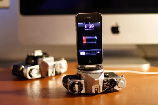 Not 100% sure how I feel about this. I hope the cameras were broken. Wonder what else I could turn into an iPhone dock?