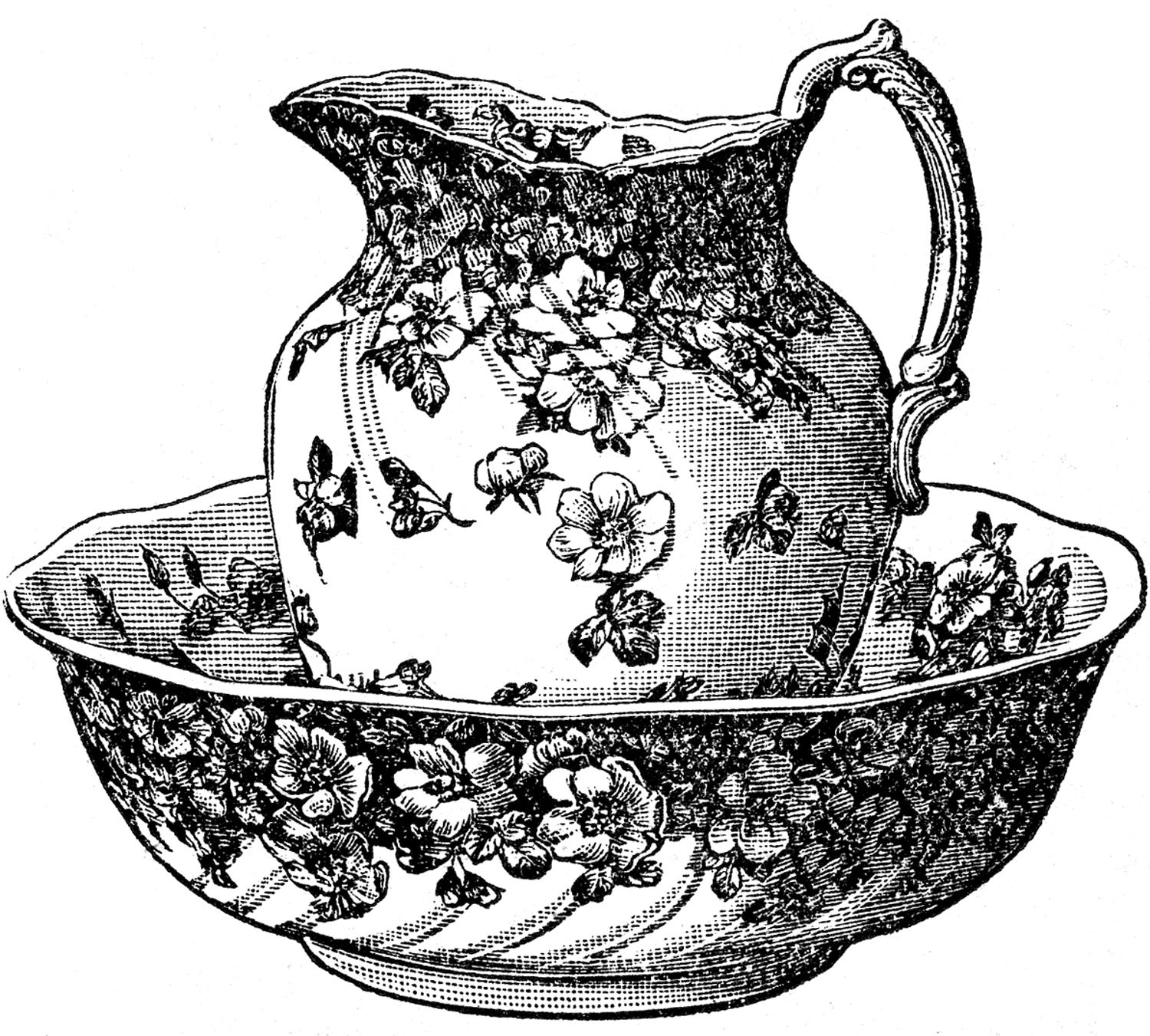 antique clip art classic pitcher and bowl the graphics fairy [ 1500 x 1351 Pixel ]