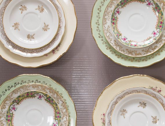 """Set of 12 mismatched porcelain dinner plates.Cream and Green Mismatched porcelain and fine earthenware plates for a beautiful """"Shabby Chic"""" table."""