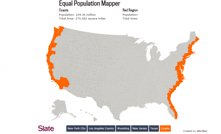 How Many Flyover States Does It Take To Equal One New York City Map Interactive Map Texas Coast
