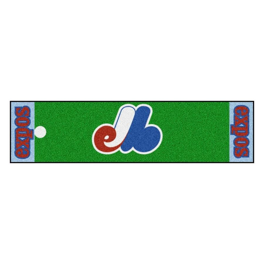 Realistic putting surface (11 on golf Stimpmeter). Includes putting target barrier/backstop. Durable vinyl backing keeps mat in place. 100% Nylon Face. Doubles as a runner when not in use. Officially licensed and chromojet printed in true team colors. FANMATS MLB- Washington Nationals Retro Collection Putting Green Mat- 1.5ft. x 6ft.- (1990 Montreal Expos) | 2207