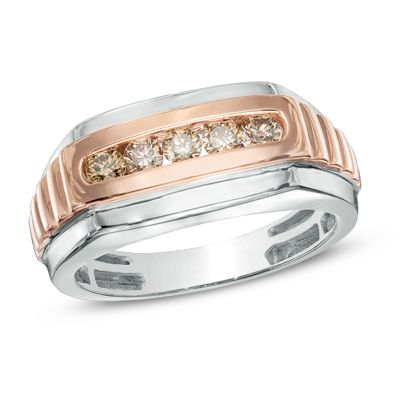 Men's 1/2 CT. T.W. Champagne Diamond Five Stone Ring in 10K Two-Tone Gold