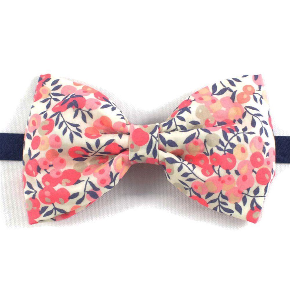 8927c048c0367 Noeud papillon Liberty Pois de senteur Barbe à papa fleurs rose corail  mariage
