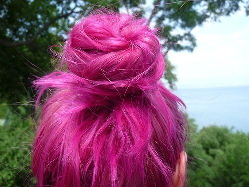 hair, pink, and bun image