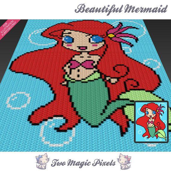 Beautiful Mermaid c2c graph crochet pattern by TwoMagicPixels | C2C ...