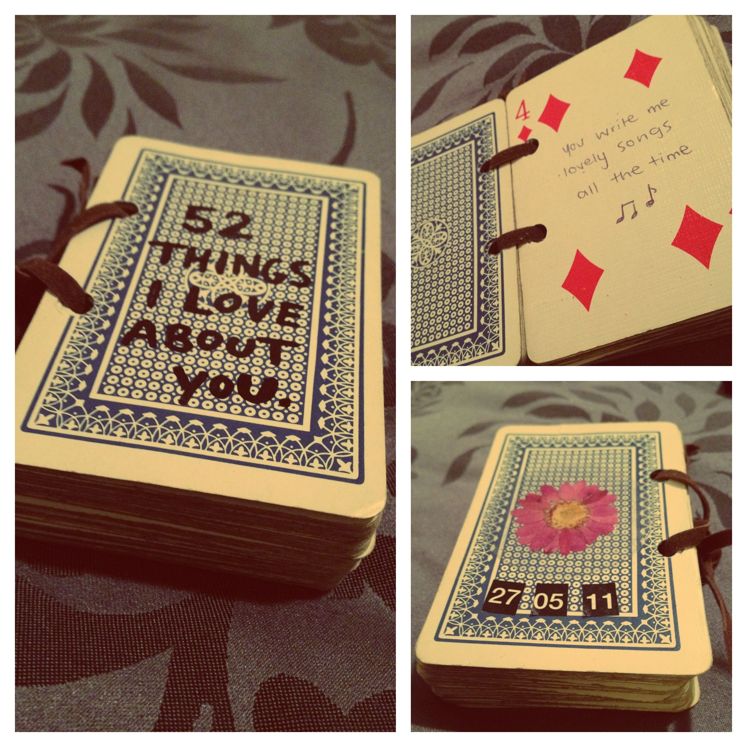 my own take on the '52 things I love about you' card gift