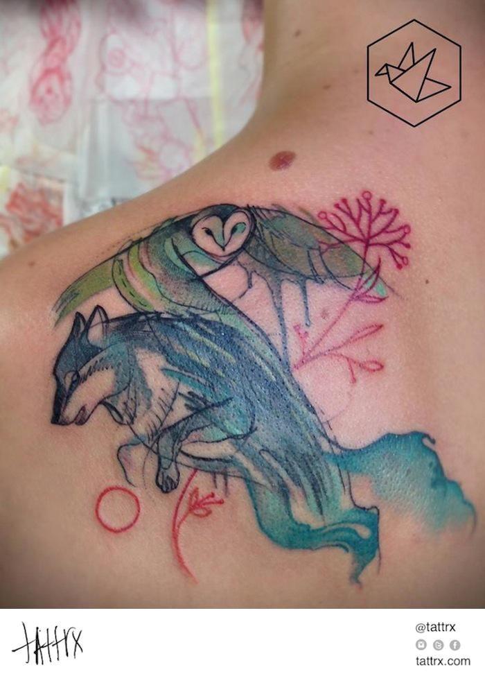 Yadou Tatuaże Tattoo - Wolf and Owl