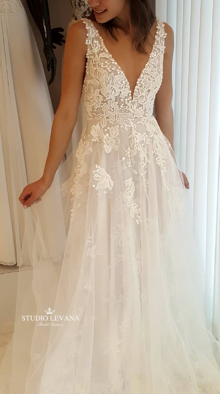 Beautiful Romantic Blush Sparkly Lace Wedding Dress With Deep V