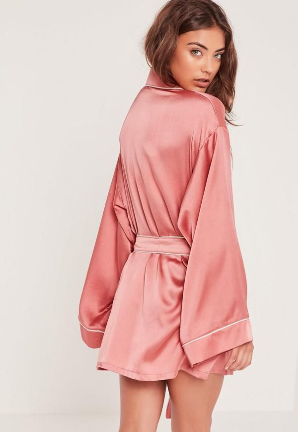 3fca1f6dff Missguided Pink Kimono Piped Detail Satin Dressing Gown in 2019 ...