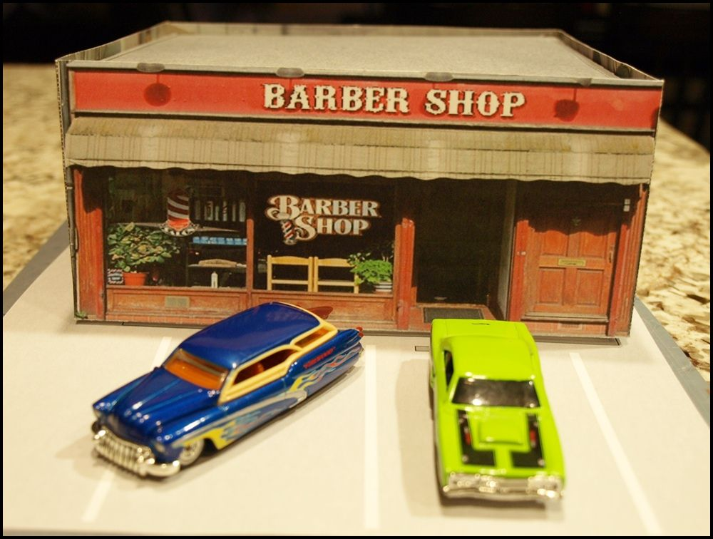 Barber shop paper model build for any 164 scale cars