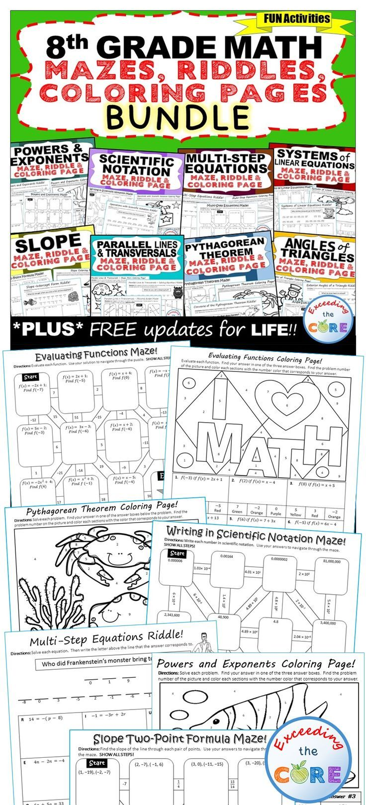 8th Grade Math Mazes, Riddles & Coloring Pages (Fun MATH