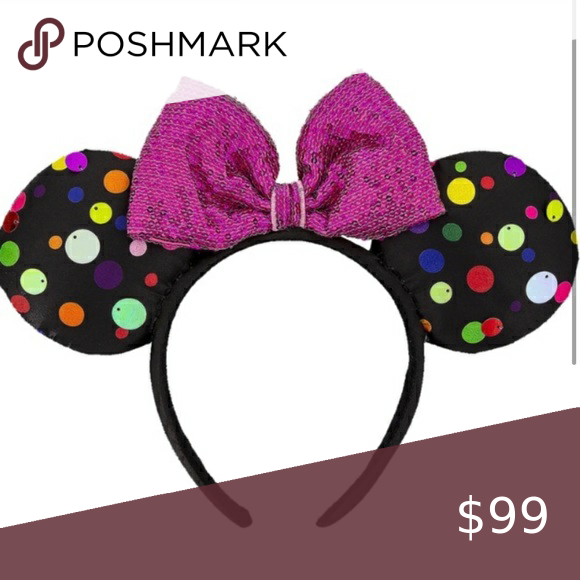 Disney Parks Polka Dot Black Minnie Mickey Ears