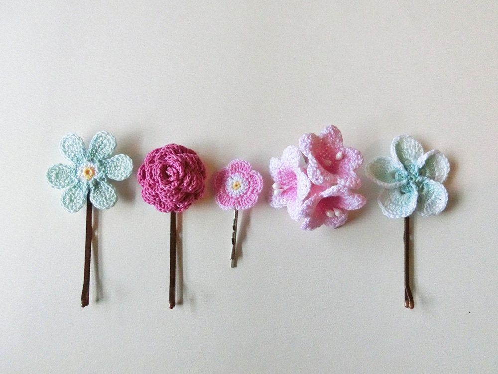 Flower Hair Pins Pink and Aqua. Mixed Set of 5. by goolgool