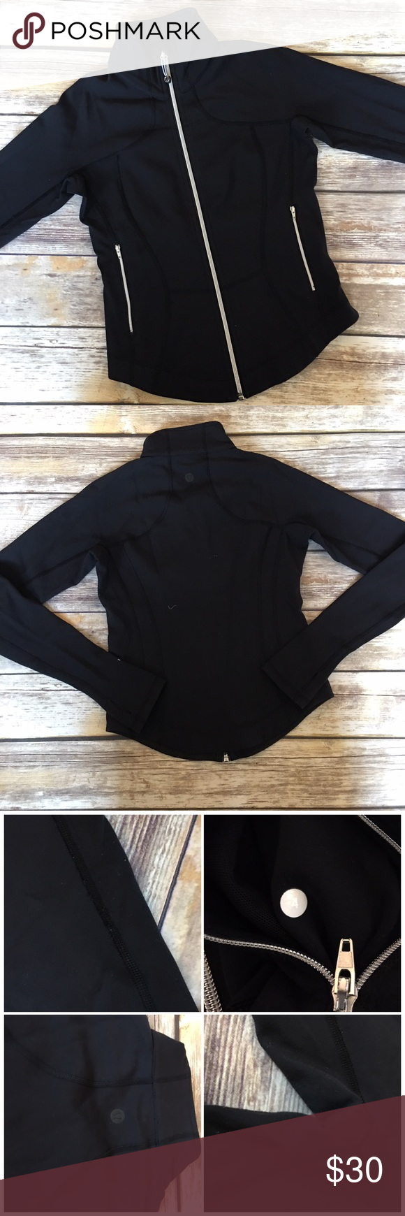 "Lululemon Black Zip up Jacket Lululemon Black Zip up Jacket. Has two pockets and zips up fully. Has thumbholes. Ideal for outdoor workouts. Has signs of pilling on the arm / wrist area and underarm. Priced accordingly. Measures from pit to pit 17""/ length 21"". lululemon athletica Jackets & Coats"