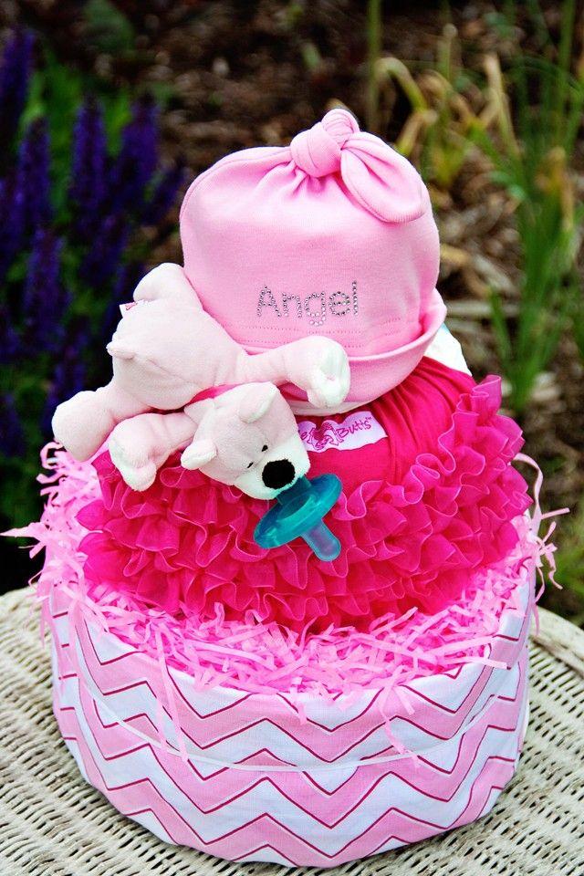 All Diaper Cakes - 3 Tier Pink Chevron Diaper Cake, $116.95 (http://alldiapercakes.com/3-tier-pink-chevron-diaper-cake/)